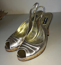 STYLE & CO Gold Shiny Metallic Cork Strappy Slingback Peep Toe Heels Shoes 8.5 M