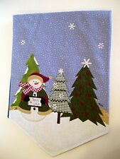 BLUE WHITE SNOWFLAKES SNOWMEN TREES COTTON CHRISTMAS TABLE RUNNER  DECORATION