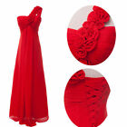 RED Long Chiffon Evening Formal Party Gown Prom Bridesmaid Dress 6 8 10 12 14 16