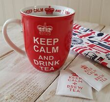 "NEW ""Keep Calm And Drink Tea"" Coffee Tea Mug Red White CROWN Coffee Cup Gift"