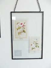 """Large Vintage Industrial Metal & Glass Wall Hanging Frame 11.25""""x 7.25"""" Photo"""