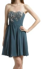 Rebecca Taylor Teal Sz 4,6 Strapless Dress Beaded Sequins Party Cocktail Silk