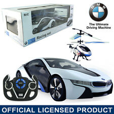 Licensed 1:14 BMW I8 RC Remote Car + Electric Radio Control Helicopter Kids Toy