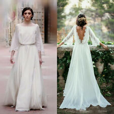 Ivory Lace 3/4 Long Sleeve Backless Bohemian Wedding Dresses Bridal Gown Custom