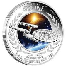 2015 1oz Star Trek Enterprise NCC-1701 Silver Proof $1 Coin–Perth Mint–TOS