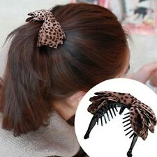 Korea Style Womens Leopard Print Bow Hair Clips Claws Hair Accessories