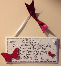 Personalised Custom Grandparents Message Gift Plaque Sign Nan Grandad Christmas