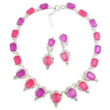 Lilien Czech November Rain Set Neon Fuchsia And Pink Necklace and Earrings
