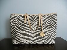 $328 MICHAEL KORS TIGER/ZEBRA JET SET PVC/LEATHER MEDIUM MULTIFUNCTION TOTE BAG