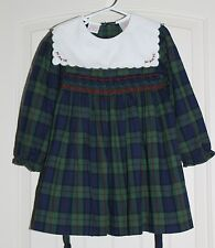 Girls Allison Ann Vintage Smocked Boutique Plaid Holiday Christmas Dress size 4T