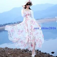 Ladies Summer Floral Boho Bohemia Long Maxi Dresses Beach Dress Chiffon Sundress