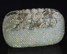 Sparkling Clutch Silver Evening Bag made w/ Swarovski Crystal Lace Clasp Bridal