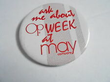 """VINTAGE 3"""" PINBACK BUTTON #104-041 - OP WEEK at MAY COMPANY"""
