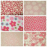 PINK FABRIC PER METRE FAT QUARTERS BUNDLES FLOWERS CRAFT SEW DRESSMAKING BUNTING