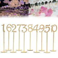 10pcs Wooden Table Numbers 1 to10 Stick Set With Base Wedding Party Decor Favor