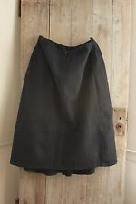 Antique French workwear Skirt Indigo blue boiled  wool 19th Victorian clothes