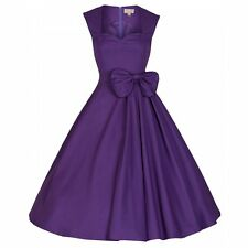 NEW VINTAGE 50'S STYLE PURPLE GRACE ROCKABILLY SWING PARTY DRESS SIZE 24