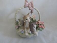 Lladro Nao Angora Cats In a Flower Basket