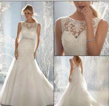 New White/Ivory Lace Wedding Dress Bridal Gown Size 6-16 UK