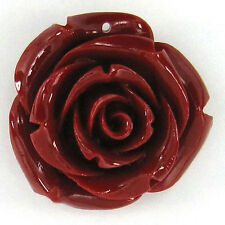 35mm red synthetic coral carved rose flower pendant bead