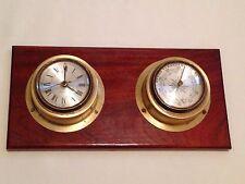 Regen Veranderlich Schon German Brass Quartz Clock & Barometer on Wooden Plinth