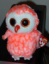 "Ty Beanie Boos - CORA the 6"" Pink Owl ~ Justice Exclusive ~ 2016 NEW ~IN HAND"