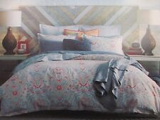 New TOMMY HILFIGER 3pc Mod Paisley Coral Grey Floral Duvet Set - Full/Queen
