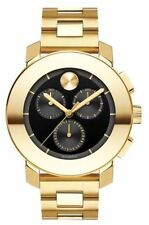NEW MOVADO BOLD GOLD TONE BLACK DIAL CHRONOGRAPH WOMEN'S WATCH 3600359