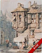 MIDIEVAL FRANCE FRENCH CITY TURRET SCENE PAINTING ART REAL CANVAS GICLEE PRINT