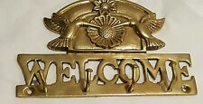 Brass 4 Hook Wall Mounted Key Holder Rack - WELCOME . HUMMING BIRDS