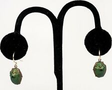 RARE Antique Victorian Earrings, REAL Scarab Beetle set in 14k Gold, Fabulous