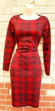 FIRST LOVE RED CHECK TARTAN BLACK LONG SLEEVE PENCIL TUBE BODYCON DRESS 10 S