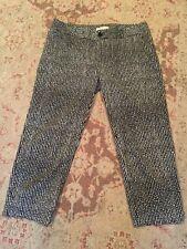 Banana Republic Sy Black/White Dot Print Cotton Cropped Chino Style Pants Sz 10
