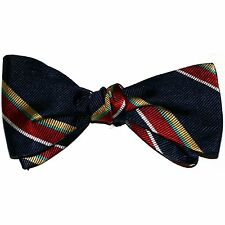"NEW! Hand Made. 100% Silk. NAVY RED GOLD Stripes SELF TIE Bow Tie. 2.5"" Wide"