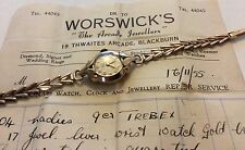 Stunning Ladies c. 1955 Vintage Heavy Solid 9ct Gold Trebex Watch - Has Receipt