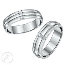 Palladium His & Hers Diamond Wedding Rings 5&6mm Grooved Three Diamond Rings
