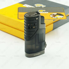 COHIBA Black Translucence 3 Torch Jet Flame Cigar Cigarette Lighter With Punch