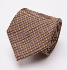 New $225 BORRELLI NAPOLI 7-Fold Silk Tie Light Brown-Orange Woven Check