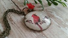 Cardinal bird jewelry, necklace, red flower, bronze, glass cabochon
