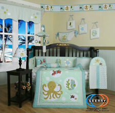 Sea World Animals Baby Boy Girl Nursery CRIB BEDDING SET 14PCS Including Mobile
