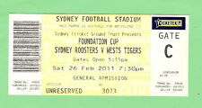 2011 FOUNDATION CUP USED UNRESERVED TICKET, ROOSTERS V TIGERS