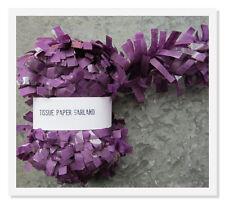 Purple Tissue Paper Garland Festooning Garland 25 feet Paper Trim