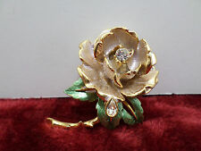 GRAZIANO 1997 ENGLAND'S ROSE PIN BROOCH GOLD TONE RHINESTONE COSTUME JEWELRY