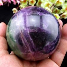 Glow In The Dark Crystal Purple Fluorite sphere ball Healing 85MM