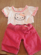 Build A Bear HELLO KITTY Outfit WHITE TOP PINK SHORTS Clothing Clothes