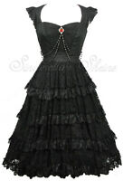 Spin Doctor Victorian OPHELIA Steampunk Gothic Lace Evening Dress M UK 10-12