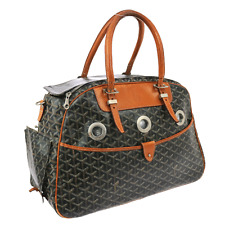 Authentic GOYARD Sac Hulot Pet Carrier Hand Bag PVC Black Brown Leather JT04835