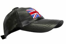 BASEBALL Black Union Jack Plain Ladies Mens Real Leather HipHop Cap Hat