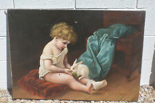William Charles Anthony Frerichs(1829 - 1905) oil on Canvas Adorable Child