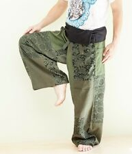 EXTRA LONG HIPPIE UNIQUE PATCHWORK FISHERMAN TROUSERS YOGA PANTS BOHO GREEN SOX8